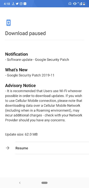 Nokia 6.1 Plus receiving November 2019 Android Security update