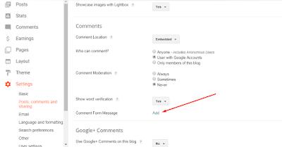 cara membuat pesan di atas komentar blog