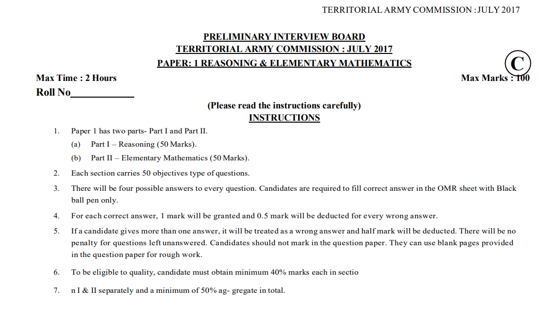 Download PDF For territorial army question paper