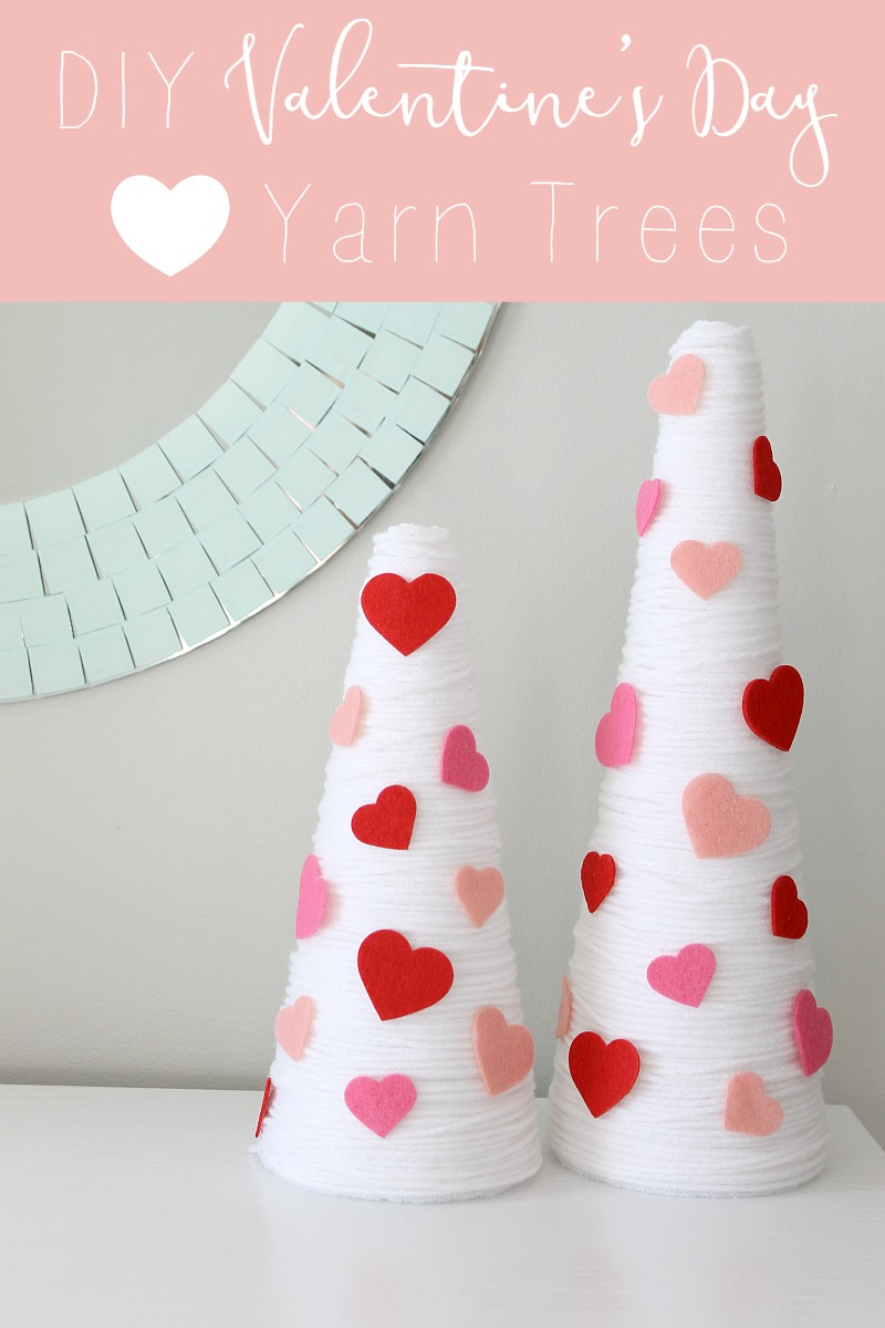 how to make easy diy valentines day decor made from yarn and styrofoam cones - Valentines Day Decor