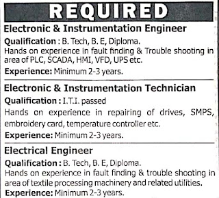 Siddhi Vinayak Knots & Prints Pvt. Ltd. Required  B. Tech, B. E, Diploma, ITI Holders For Engineers & Technicians Positions