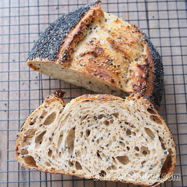 Sesame Open Crumb Sourdough Bread