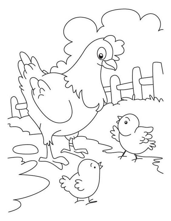 Tranh tô màu gà mẹ và gà con