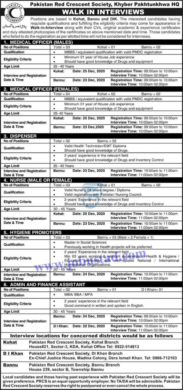 Pakistan Red Crescent Society KPK Jobs December 2020