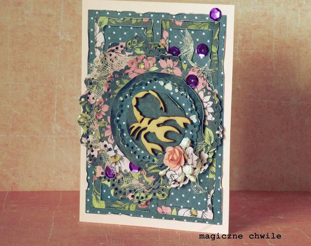 kartka urodzinowa ozdobiona scrapkiem z rakiem