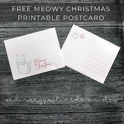 Free printable postcard - cat christmas | from ordinarypostcards on etsy