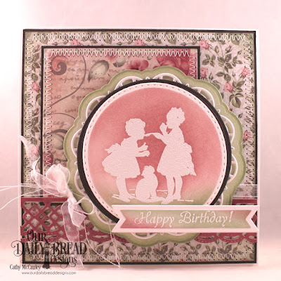 Our Daily Bread Designs Stamps: Little Girls, Paper Collection: Romantic Roses, Custom Dies: Double Stitched Squares, Double Stitched Circles, Doily Dies, Beautiful Borders, Pennant Flags