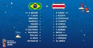 Susunan Pemain Brasil vs Kosta Rika
