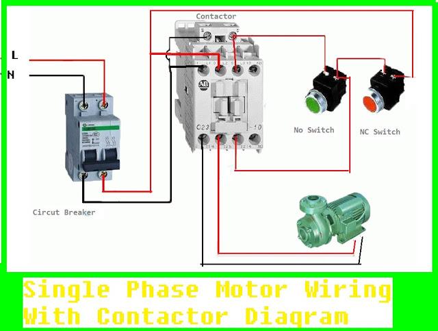 Single Phase Motor Wiring With, Motor Starter Wiring Diagram