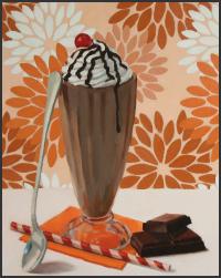 dessert, desserts, still life, oil painting, pattern, art, artwork, for sale, original, gift, milkshake, chocolate, orange