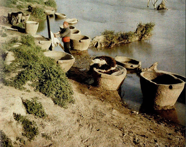 Stone bowls next to Vardar River in which the village skinners tanned the skins by trampling on them. The tannery was located on the left bank of Vardar. - Macedonia in 1913