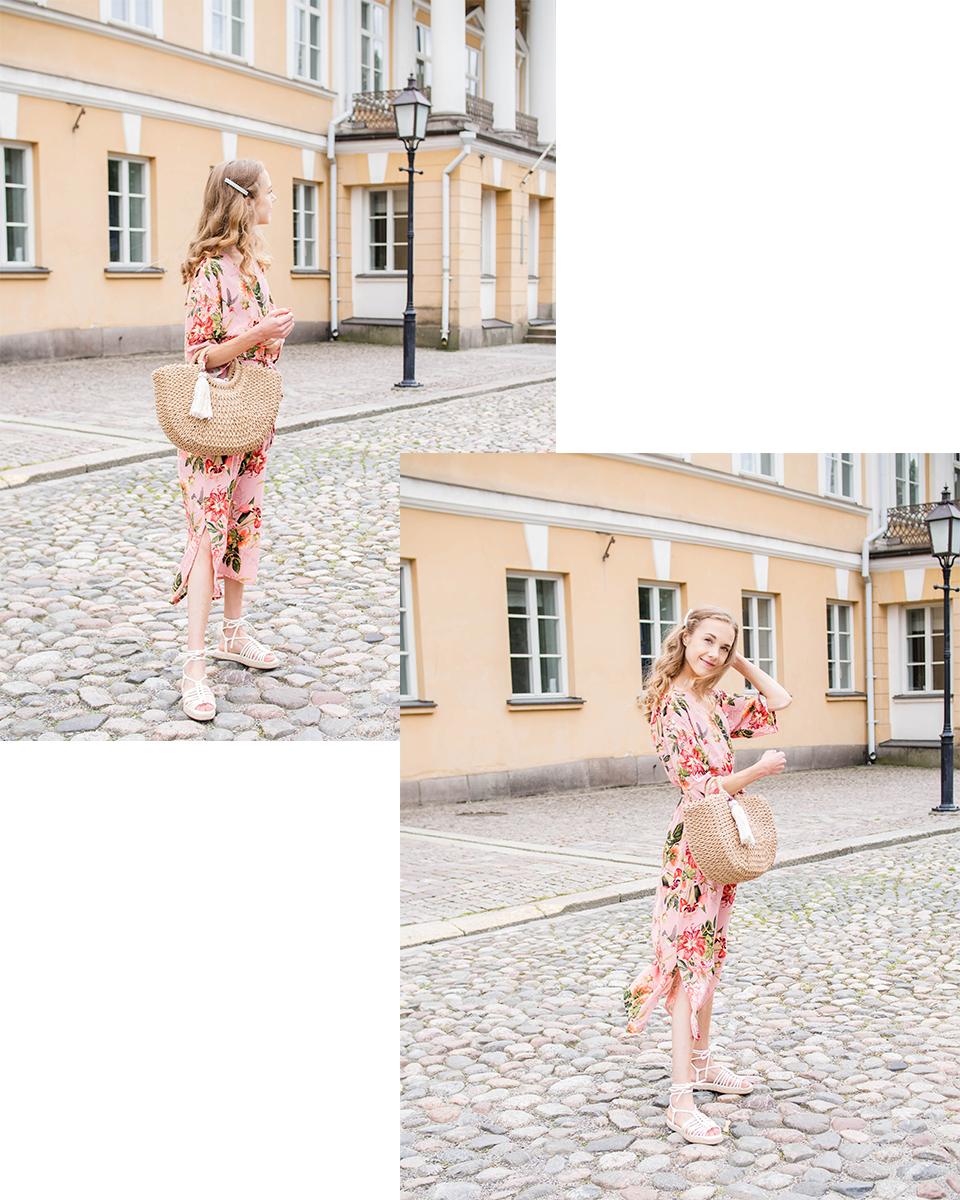 Fashion blogger summer outfit with pink floral dress - Muotibloggaaja, kesämuoti, inspiraatio, vaaleanpunainen kukkamekko