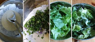 Zubereitung Grüner Salat mit Kräutern, Blüten und Joghurt-Dressing