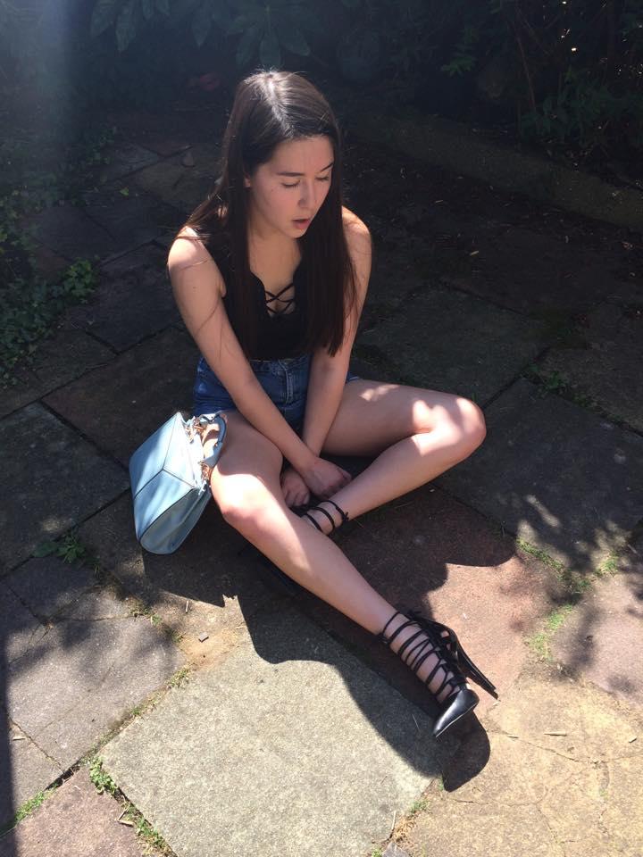 topshop, denim shorts, public desire heels