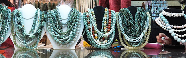 Necklaces and beads made from jade