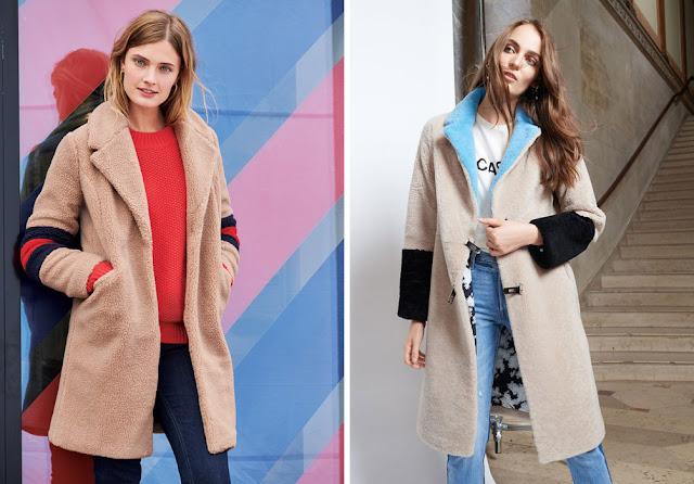 Девушки в светлых плюшевых пальто с контрастными яркими вставками колор блок