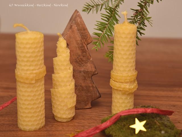 Die Kerze der Hoffnung. Selbstgemachte Geschenke von Kindern zu Weihnachten. Die 4 Kerzen. Selbstgedrehte Bienenwachskerzen. Sinnvolle selbstgemachte Geschenke durch Montessori inspiriert.