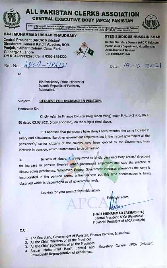 REQUEST FOR INCREASE IN PENSION BY APCA