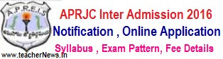 APRJC 2017 Hall Tickets for MPC BiPC HEC CEC Inter Admission Test 2017 Admit Card