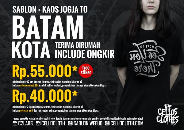 Harga sablon kaos MAKASSAR Kota dari Jogja include ongkos kirim