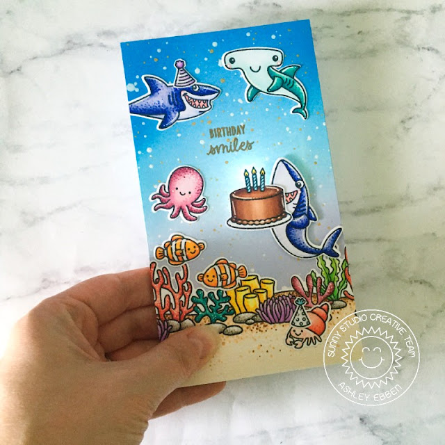 Sunny Studio Stamps: Sea You Soon Best Fishes Tropical Scenes Birthday Card by Ashley Ebben
