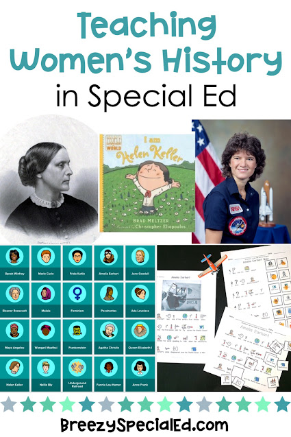 Ideas and Activities for Women's History Month designed for special education classes