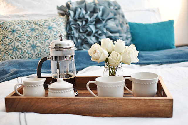 french press coffee mugs sugar creamer pottery barn emma dish ware bed bath and beyond duvet cover threshold fuzzy blanket pier one imports flounce pillow guests overnight guests holiday season family and friends