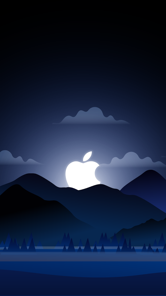 iphone wallpaper foggy night with apple symbol as moon landscape