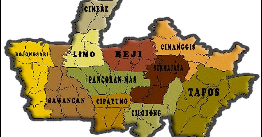 Peta Kota Depok HD Lengkap 11 Kecamatan | Jawa Barat - PETA HD