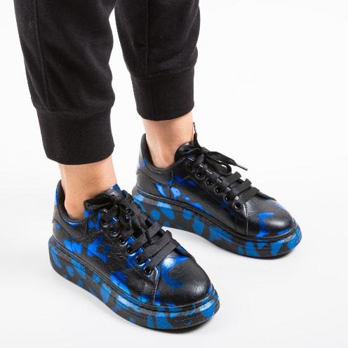 Adidasi cu talpa inalta albastri cu negru la moda