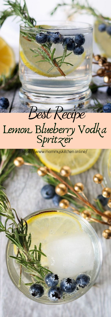 Lemon Blueberry Vodka Spritzer #healthydrink #easyrecipe #cocktail #smoothie