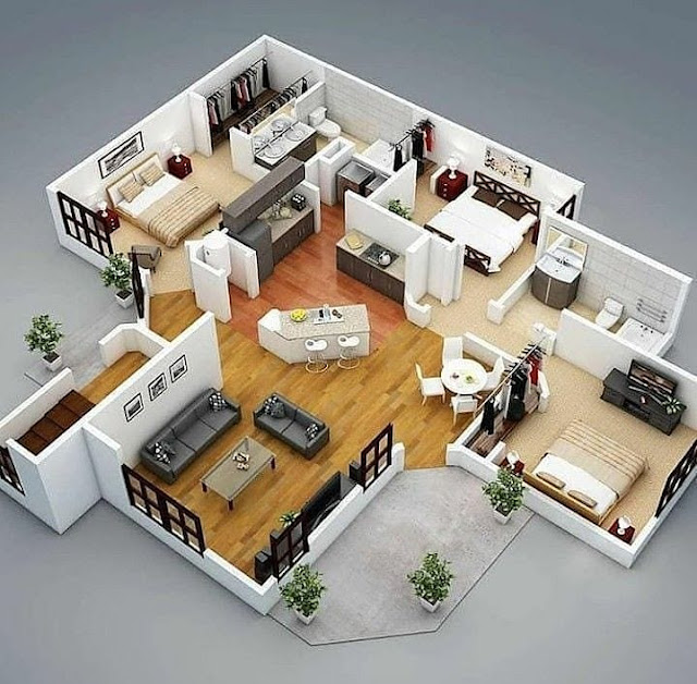 Inspirasi Gambar Denah Rumah Minimalis 3 Kamar Modern Trend