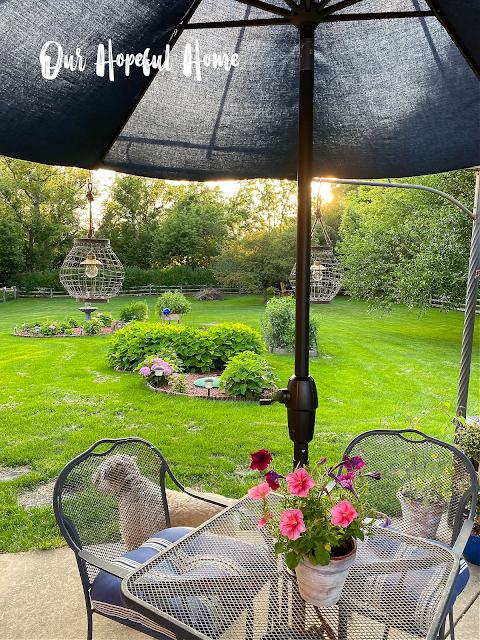 patio umbrella wire table hanging lanterns