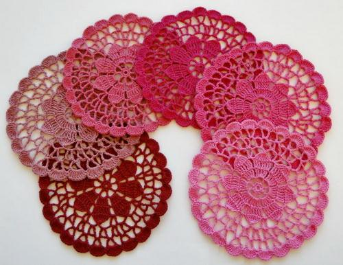 Crochet Coasters with Pattern, pink lace doilies, Flower in center