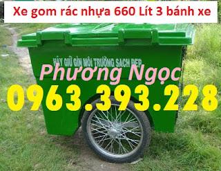 Xe gom rác nhựa 660 Lít, xe gom rác 3 bánh, xe gom rác 660L 3 bánh hơi XR660L3B6