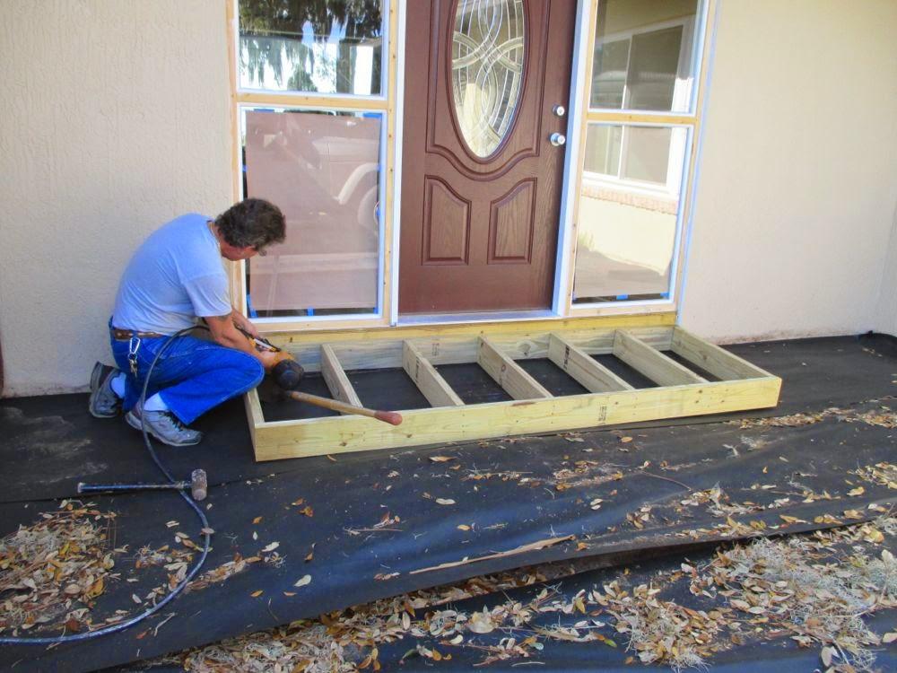 Brick Bluestone Stoop Ideas | Front porch steps, Patio steps |Wood Stoop Construction Ideas