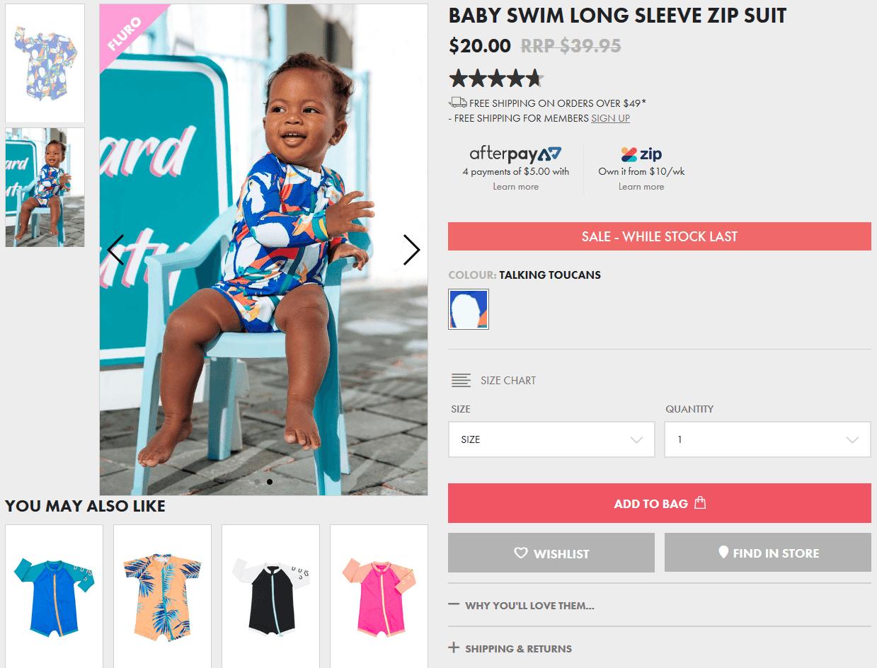 赤ちゃん用長袖前チャック付き水着の写真