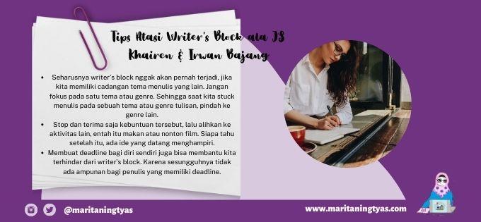 writer's block tips ala JS. Khairen dan Irwan Bajang