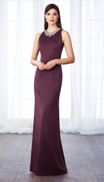 CAMERON BLAKE BY MON CHERI - 116659 LONG EVENING GOWN WITH BEADED NECKLINE