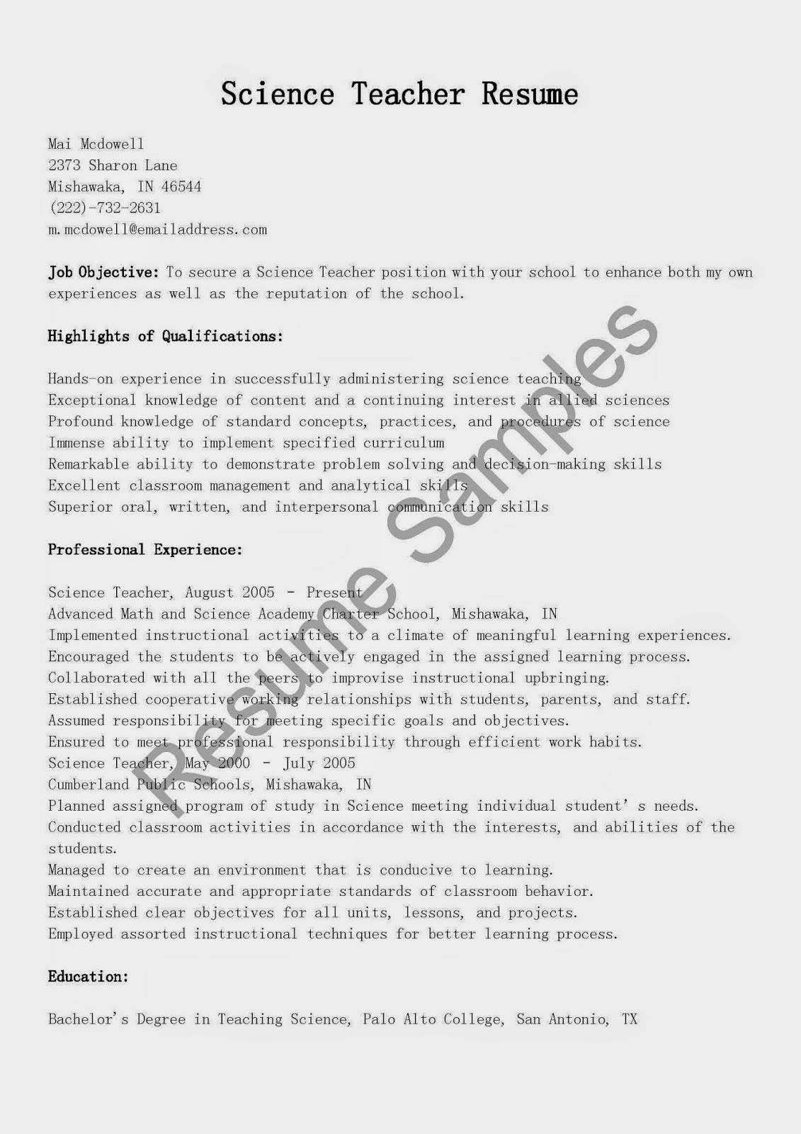 resume samples  science teacher resume sample