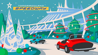 Tomorrowland Speedway Christmas Version Concept Art Magic Kingdom 2019