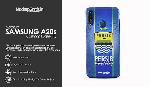 Mockup Custom Case 3D Samsung Galaxy A20s Gratis PSD File
