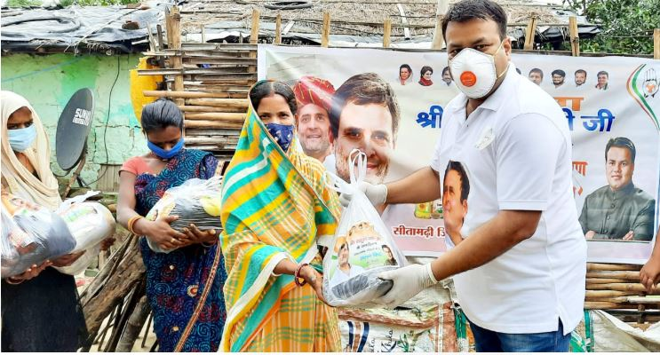 राहुल गांधी के जन्मदिन के अवसर पर,सीतामढ़ी जिला युवा कांग्रेस अध्यक्ष राशन किट वितरित किया