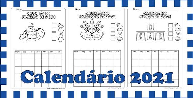 calendário 2021 para imprimir e colorir
