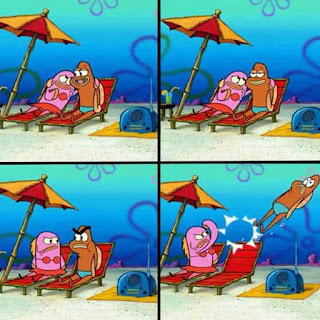 Polosan meme spongebob dan patrick 75 - menampar ikan di pantai