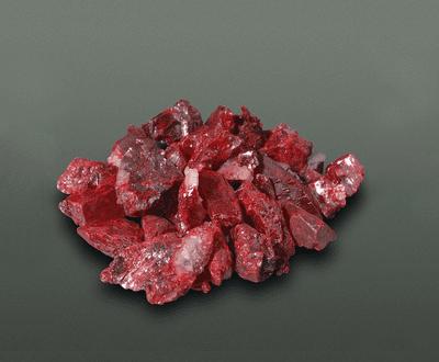 Forma hexagonal vermelha sulfeto de mercurio (II)