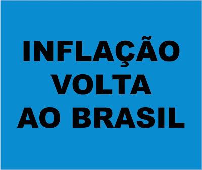Impam de fundo azul e caracteres em preto diz:inflação volta ao Brasil.