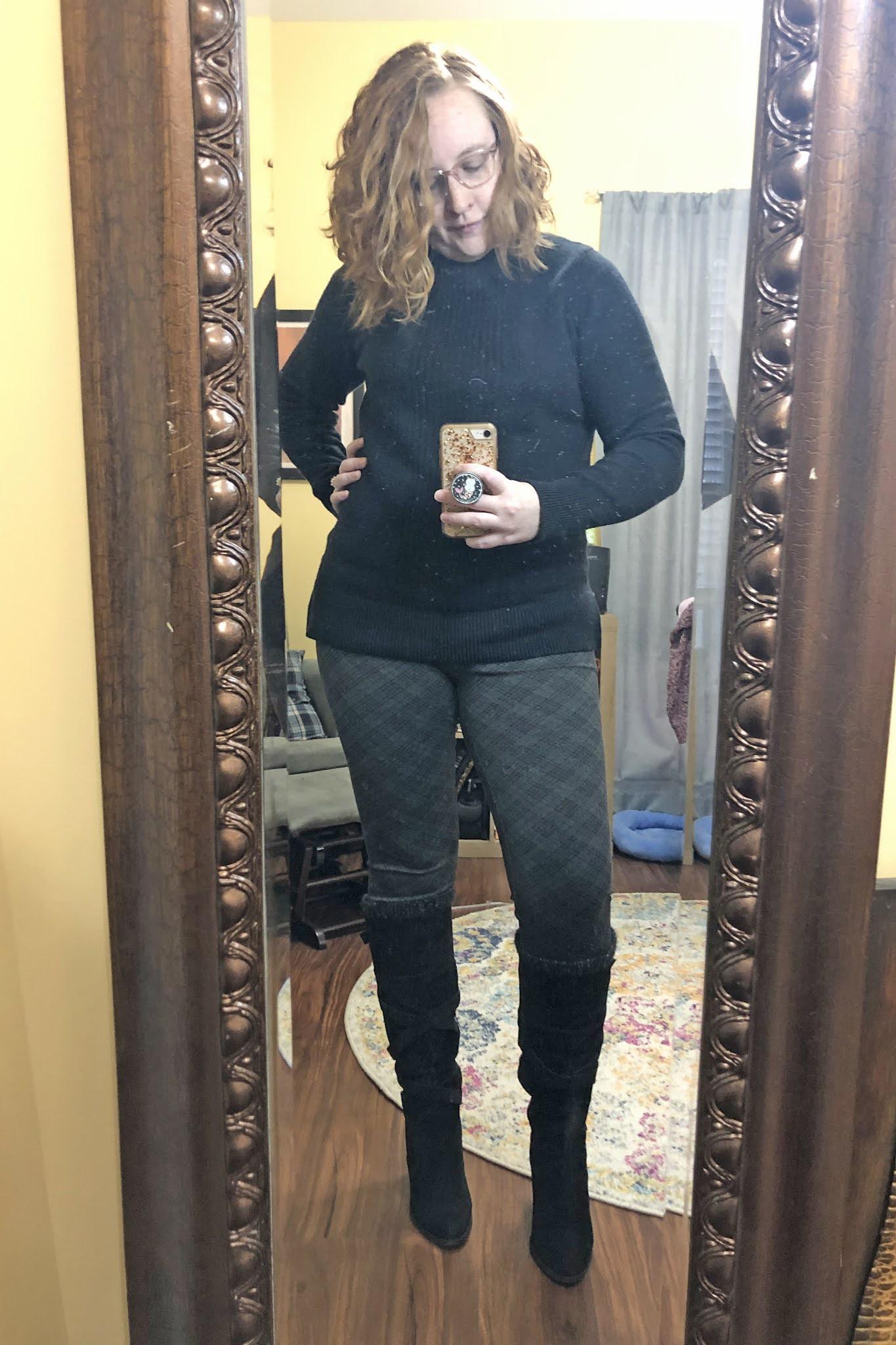 black mockneck sweater plaid leggings