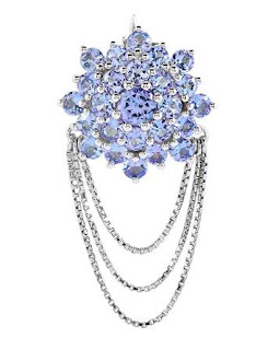 Image showing a sterling silver Charleston brooch featuring 1.93 carats of tanzanite