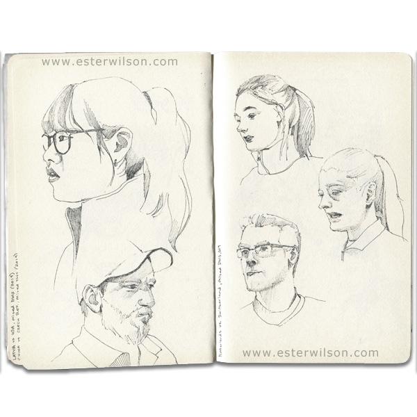 Sketchbook figure drawings in ink